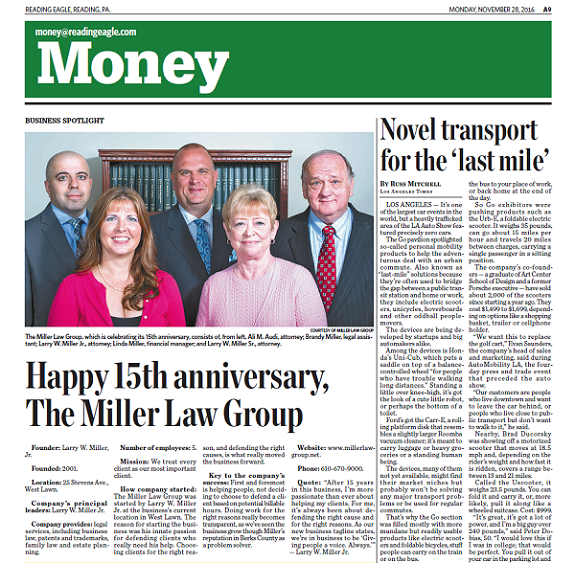 Happy 15th anniversary, The Miller Law Group